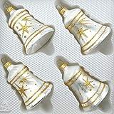 4 TLG. Glas-Glocken Set in Ice Weiss Gold Komet - Christbaumkugeln - Weihnachtsschmuck-Christbaumschmuck