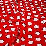 Stoff Baumwolle Punkte groß rot weiß Tupfen Dots