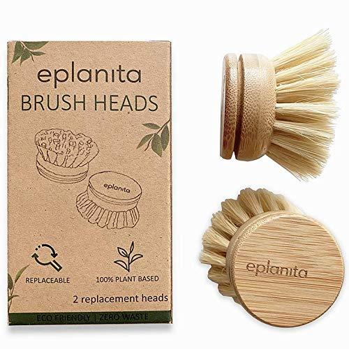EPLANITA ® Ersatzbürstenköpfe (2er Pack) für Bambus-Spülbürste, Sisal-Borsten-Nachfüllpackungen, Agaven-Kaktusfasern, kunststofffreie Reinigung, Naturbürsten-Ersatzköpfe, Null Abfall Küche