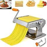 ZCRANK - Máquina de pasta de acero inoxidable con 6 ajustes de grosor con manivela manual, perfecto para pasta, lasaña, lingüina,Molde de bola de masa hervida y cepillo de pelo pequeño.