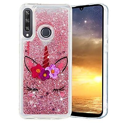 HopMore Glitter Funda para Huawei Y6p 2020 Purpurina Silicona Cover 3D Liquido Brillante Dibujos Transparente Carcasa Huawei Y6p 2020 Resistente Antigolpes Case Protección - Unicornio