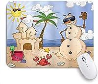 マウスパッド 個性的 おしゃれ 柔軟 かわいい ゴム製裏面 ゲーミングマウスパッド PC ノートパソコン オフィス用 デスクマット 滑り止め 耐久性が良い おもしろいパターン (太陽漫画を楽しんでいる熱帯のビーチでキャッスルカニの貝殻を持つ子供砂雪だるま)