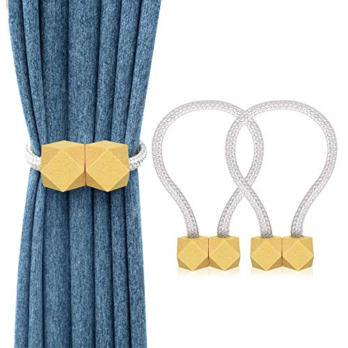 WENYECHEN 2 Stücke Magnetische Vorhang Raffhalter Dekorativ Raffhalter für Vorhänge Kreativ Gardinen Raffhalter Praktisch Gardinenhalter für Haus Büro Dekoration (Gold)