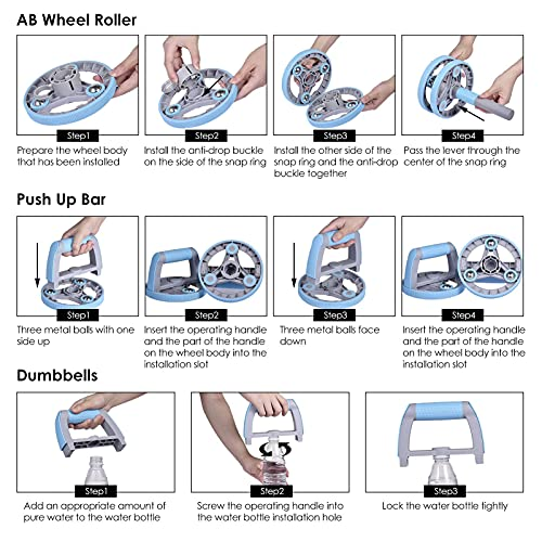 Herramienta de entrenamiento 3 en 1 Ab Roller para usar como mancuernas o barra de empuje, kit de ejercicio abdominal Core Abs Trainer para perder peso Fitness Work Out en casa, gimnasio
