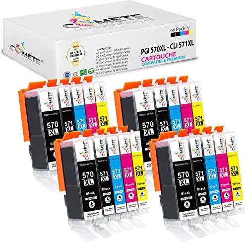 COMETE 570XL 571XL - Cartuchos de tinta compatibles con Canon PGI-570XL CLI-571XL para impresora PIXMA (1 PGBK,1 Negro,1 Cian,1 Magenta,1 Amarillo)... (20)
