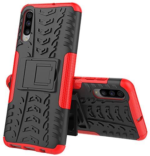 Yiakeng Funda Samsung Galaxy A70 Carcasa, Doble Capa Silicona a Prueba de Choques Soltar Protector con Kickstand Case para Samsung Galaxy A70 (Rojo)