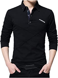 YOCheerful Mens Black Shirt, Men Spring Long Sleeve Top Blouse, Business Long Sleeve Shirt Office Workwear Top Blouse
