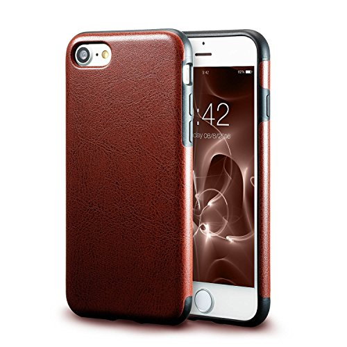 iPhone 7 Brown Leather Case/iPhone 8 Brown Leather Case, technext020 Ultra Slim Fit iPhone 7 / iPhone 8 Artificial PU Synthetic Leather Case Shock Resistance Protective for iPhone 7 / iPhone 8 Brown