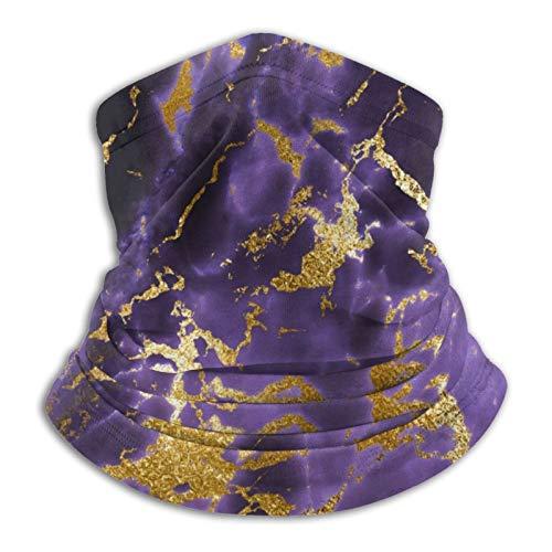 Hustor - Pasamontañas para el cuello, color morado y negro, diseño de mármol, color dorado
