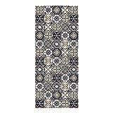 Alfombra Vinílica para Cocina, 120 x 50 cm, Diseño de Baldosas, Color Marrón, ALV-006