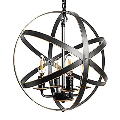 ZOSIMIO Light Chandeliers Farmhouse Rustic Industrial Pendant Lighting Fixture with Metal Spherical Shade Chandelier for Dining Room, Kitchen Island, Foyer (Oil Rubbed Bronze)
