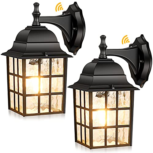 2-Pack Dusk to Dawn Outdoor Wall Lantern, Exterior Light Fixtures Wall Mount with Photocell Sensor, Black Wall Light Waterproof, Waterfall Glass Outside Wall Sconce for Porch House Garage