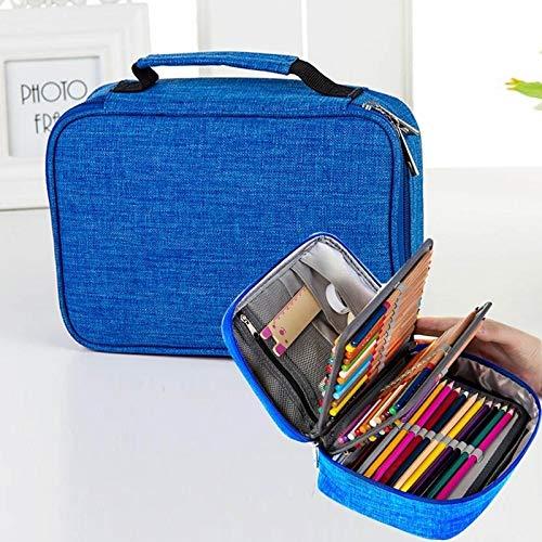 Wasserdicht-Bleistift-Kasten 72 Farbe große Kapazitäts-Bleistift-Kasten-Bleistift-Beutel-Briefpapier-Set,SunLSunLiHao (Color : Blue)