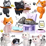 Patelai 13 Pieces Lovely Miniature Garden Cats Animals Kitten Landscape Ornament Decorations Cats Figure Toys Cute Miniature Cat for Home Decor and Cake Desk Decorations Home Garden Decoration