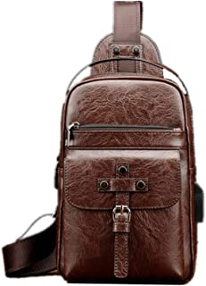 Mens Bag New Men Chest Bag Leather Crossbody Shoulder Sling Bags Daypack For Business Casual Sport Hiking Travel Slim Zipper Vintage Leather Minimalist Anti-theft Bags USB Rechargeable Ch
