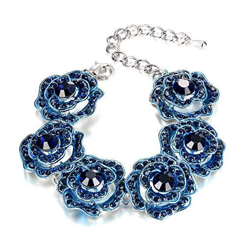 EVER FAITH Blue Rose Flower Link Bracelet for Women Girls, Rose Jewelry Gift for Women Girls 6.5'-9.4'