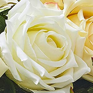 Silk Flower Arrangements Flowers Artificial for Indoor Outdoor,UV Resistant Shrubs Plants,5 pcs Simulation Flower, Small Fresh Silk Flower Decoration-White
