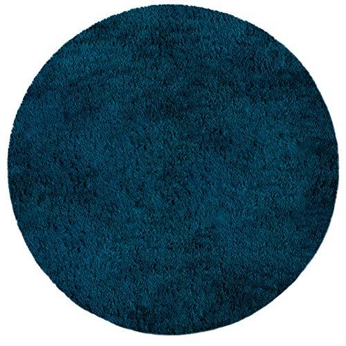 Tapis de Bain en Couleurs diverses | certifié Oeko-Tex 100 et Lavable | diamètre 95 cm - Poil très Doux | Forme Ronde - Turquoise