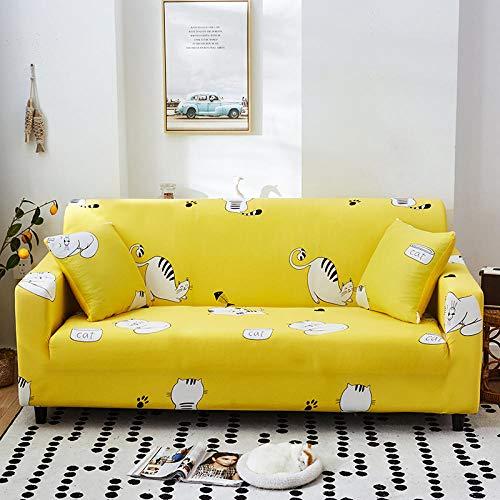 Funda Elástica de Sofá Cubre Antideslizante/Protector Ajustables de Sofá, Decorativas Fundas Animación Amarilla Impresa -para Sofas, con Cuerda de Fijación (3 Plazas:175-220cm)+1 Fundas de Almohada