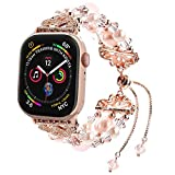 Fohuas Compatible for Apple Watch Bracelet 42mm 44mm, Adjustable Crystal Pearl iWatch Band,Women girl beaded Jewelry Elastic Replacement Wristband for iphone Watch Series SE 6 5 4 3 2 1 Sport, Edition, Nike+, Rose Gold