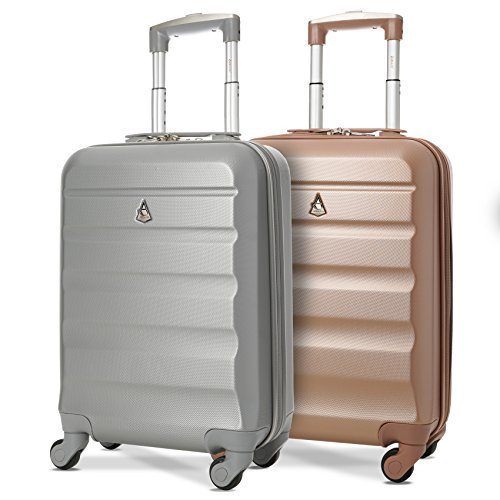 """Set of 2 Aerolite 21""""/55cm ABS Cabin Hand Luggage Hard Shell Travel Suitcase (Rose Gold + Silver)"""
