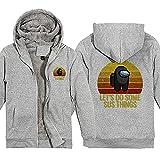 KMM-JH Hoodie Casual Camisa De Entrenamiento Sudadera De Forro Polar con Capucha Y Cremallera Completa Hombre Logo Sweat Hood Anime Movies & TV Grey 2XL