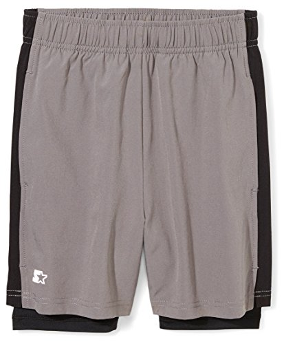 Starter Boys' Big Two-in-one Run Short, grey with black, M (8/10)
