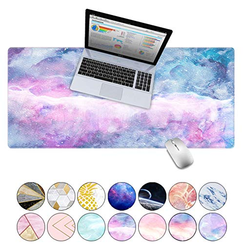 LuvCase Desk Pad, Office Desk Mat, 23.6' x 11.8' PU Leather Desk Blotter, Laptop Desk Mat, Waterproof Desk Writing Pad for Office and Home Decor, Thick Gaming Mouse Pad (Blue Pink Marble)