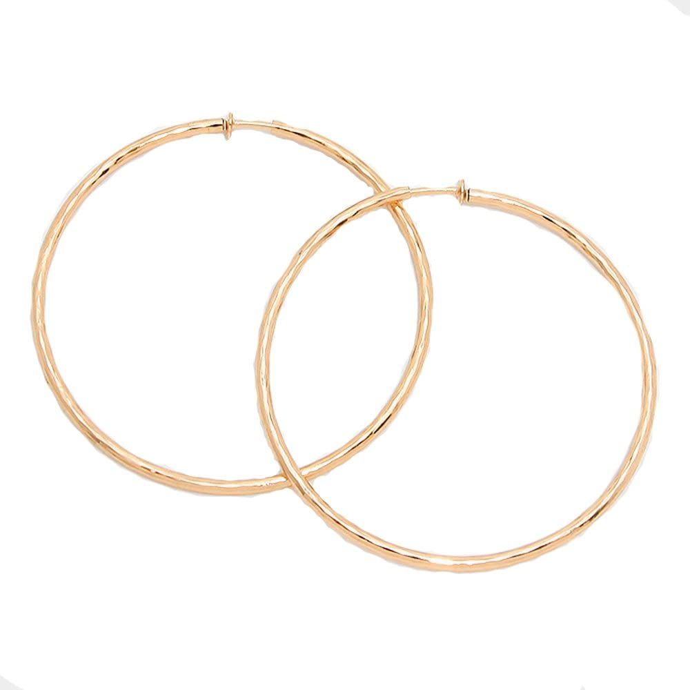 3 in Solid Wave Max 70% OFF Goldtone Spring Back Earrings - Hoop On Wit wholesale Clip