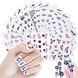 50 Feuilles 3D Stickers Ongle Nail Art Sticker, DIY Autocollants à ongles Conseils Décorations, Auto-adhésif Autocollants de transfert à eau pour la décoration pour Femmes Filles Dames