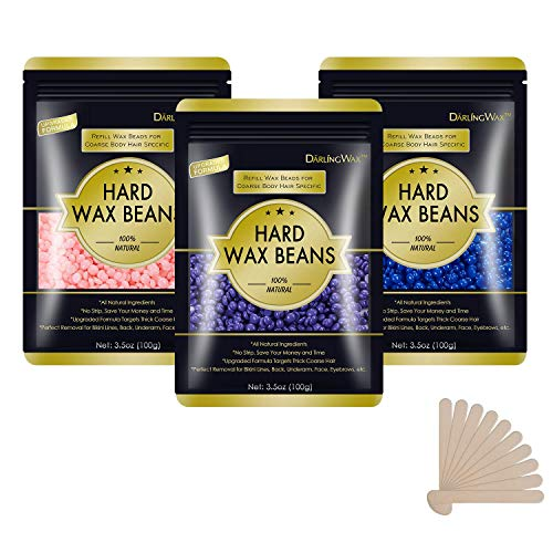 Hard Wax Beans for Painless Hair Removal, Wax Beads for Sensitive Skin, Full Body Hair Removal...
