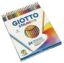 Matite colorate Giotto Pezzi 24 Peso 118 g Modello 256600, Confezione da 24 - Forma fusto esagonale Giotto - Pastelli Stilnovo - Tratto 3,3 mm - Forma fusto esagonale