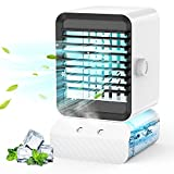 Portable Air Conditioner Fan, Air Cooler, Mini Evaporative Cooler with 600ml Water Tank, Super Quiet Air Conditioner/Humidifier Misting,7 Colors LED Light, Desk Fan with 3 Speeds for Home Office Room