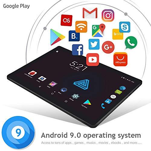 Tablet 10 Android WITHTECH CIS Edison V, Doble Cristal, Octa Core, 6 GB de RAM 64 GB ROM, 3G+teléfono, Android 9 GPS, Cristal Templado de Regalo (Negro) con Funda