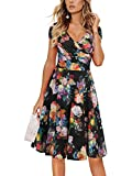 oxiuly Women's Vintage V-Neck Floral Casual Party Cocktail A-Line Dress OX233 (S, Black)