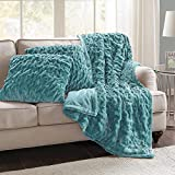 Comfort Spaces Ruched Faux Fur Plush 3 Piece Throw Blanket Set Ultra Soft Fluffy with 2 Square Pillow Covers, 50'x60', Teal