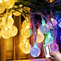Color Changing Christmas Globe String Lights USB Plug 8 Modes 33 Feet 100 Led Crystal Ball String Lights Waterproof Fairy Lights for Bedroom Indoor Outdoor Party Warm White and Multicolored