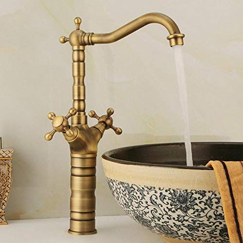 Puur koperen antieke tweegreepskraan, high-end badkamer wastafelkraan, bellenkraan, puur koperen koperen kraan