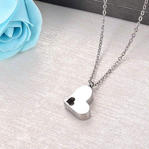 quanjiafu Collar De Urna con Colgante De Corazón De Recuerdo De Cremación Conmemorativo De Acero Inoxidable para Cenizas para Hombres Y Mujeres con Kit De Embudo Collar
