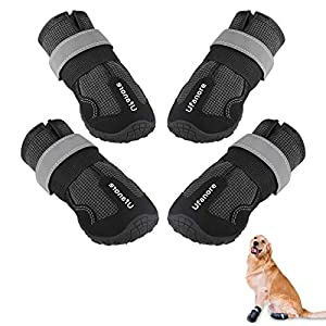 Ufanore Dog Boots, Outdoor Waterproof Dog Shoes with Reflective and Adjustable Velcro Rugged Anti-Slip Sole for Small to Large Dogs 4 Pcs