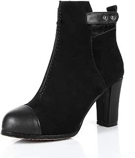 BalaMasa Womens Frayed-Seams Solid Nubuck Urethane Boots ABM13588