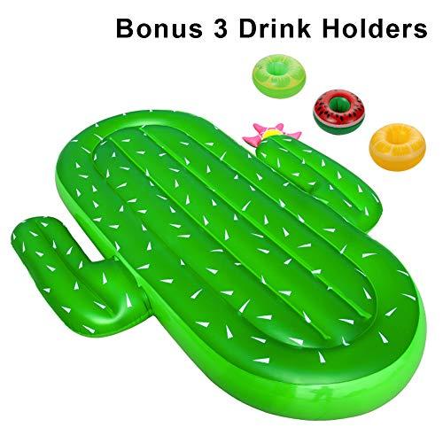 ThinkMax Aufblasbarer Kaktus Floaties, Riesige Pool Float Spielzeug für Erwachsene und Kinder mit 3 Getränkehaltern