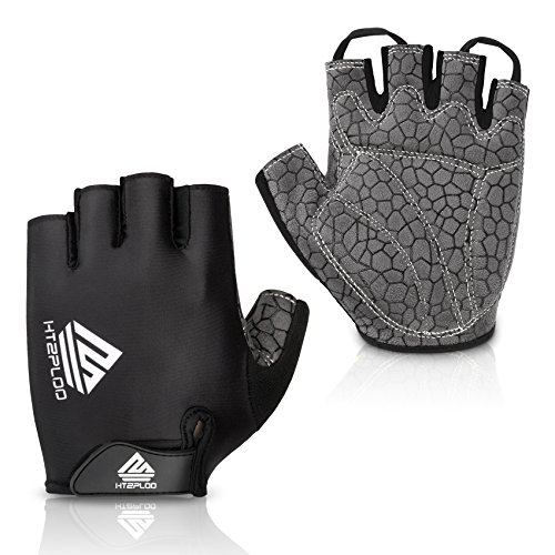 HTZPLOO Bike Gloves Cycling Gloves Mountain Bike Gloves for Men with Anti-Slip Shock-Absorbing Pad,Light Weight,Nice Fit,Half Finger Biking Gloves (Black,Large)