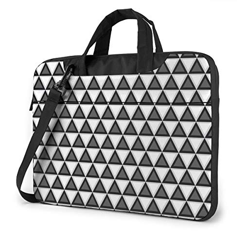 Black and White Geometric Laptop Bag Shockproof Briefcase Tablet Carry Handbag for Business Trip Office 14 inch