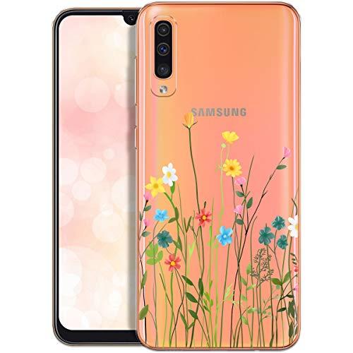 QULT Handyhülle kompatibel mit Samsung Galaxy A70 Hülle transparent mit Motiv dünn Schutzhülle durchsichtig Hülle für Samsung A70 A705FN Blumenwiese
