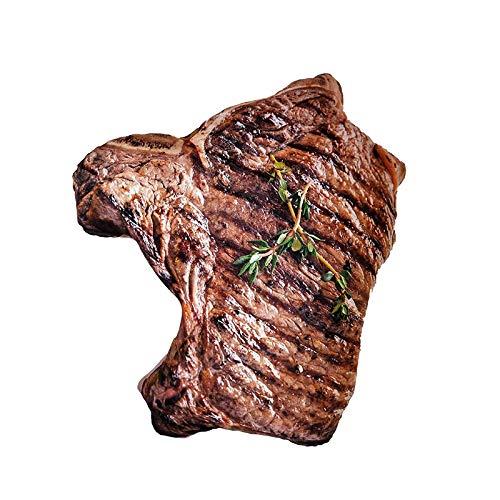 RUGUOAI Kreative Simulation 3D Rotes Fleisch Fleisch Plüsch Spielzeug Gebratene Ente Steak Essen Snack Kissen. 45 x 20 cm. Steak.