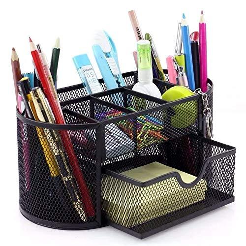 PPuujia Organizador de escritorio de metal de gran capacidad 2020, 9 celdas, de malla, para lápices de escritorio y bolígrafos de papelería (color verde)