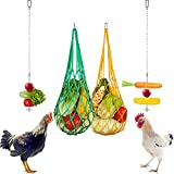 4 Pieces Chicken Vegetable Hanging Feeder Toy Stainless Steel Chicken Feeder Veggies Skewer Fruit Food Holder Poultry Cabbage Feeder Treat Feeding Tool String Bag with 2 Pieces Hooks for Hen Chicken