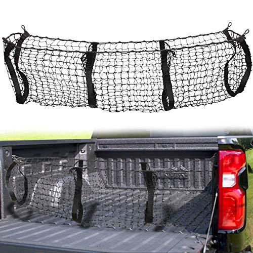 VaygWay Three Pocket Cargo Net – Mesh Storage Cargo Trunk Organizer – Car SUV Pickup Truck Bed – Black Net Auto Storage Organizer