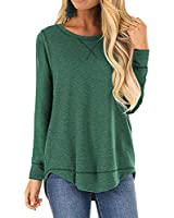 JomeDesign Shirts for Women Long Sleeve Side Split Casual Loose Tunic Top Green XX-Large